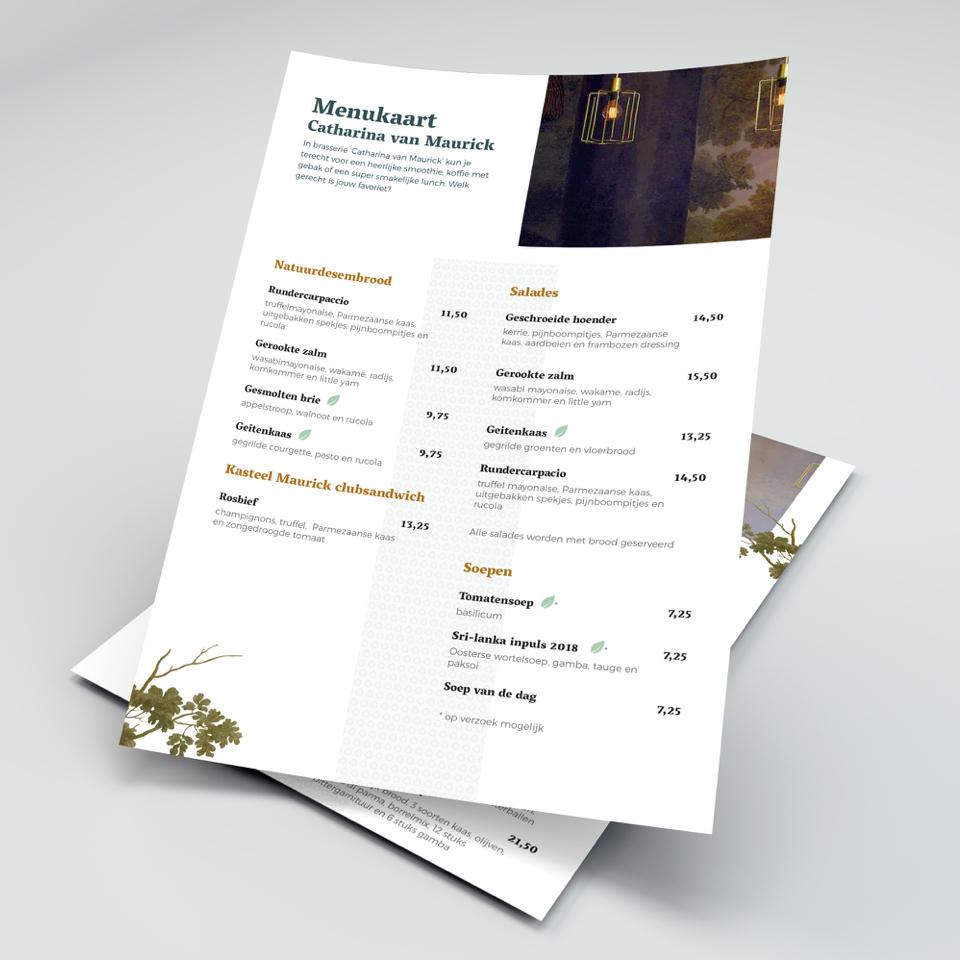 Kasteel Maurick menukaart