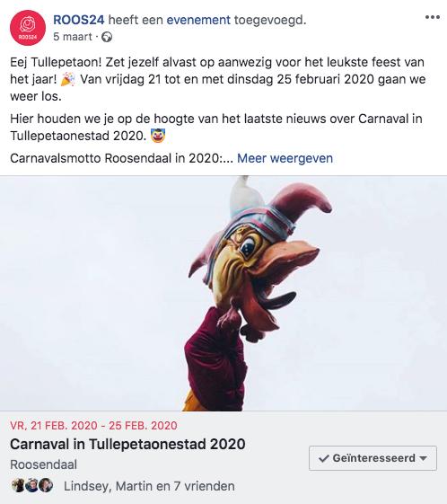 ROOS24 social media planning carnaval event