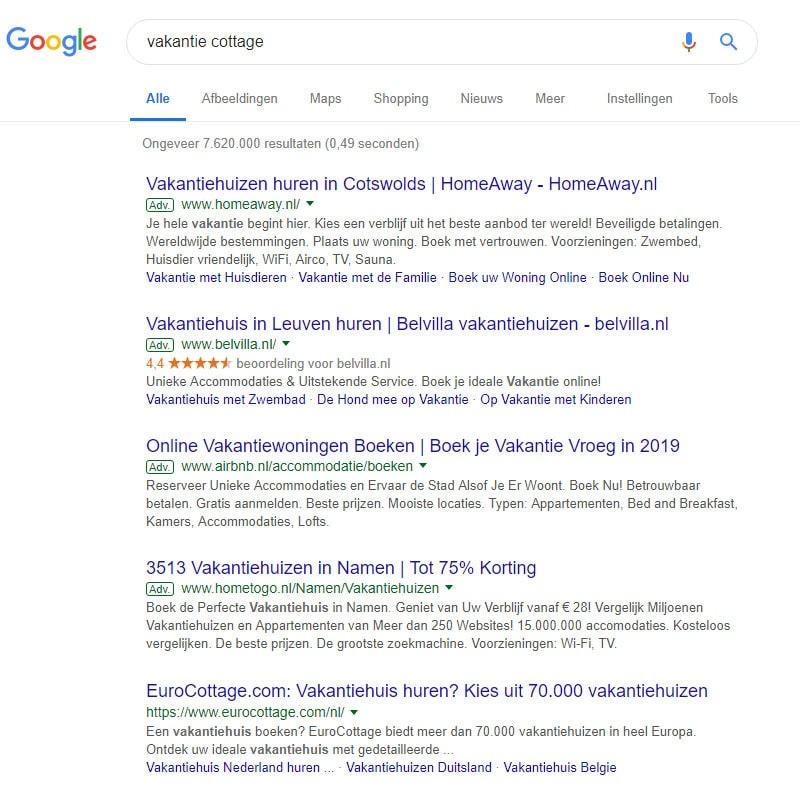 Google resultaten voor vakantie cottage