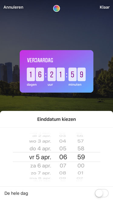 Aftel sticker voor in Instagram stories