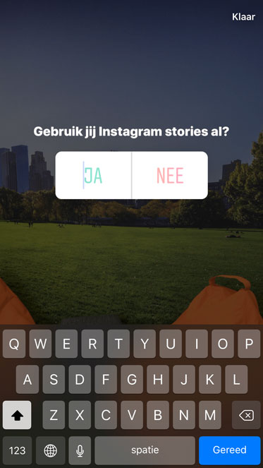 Poll sticker voor in Instagram stories