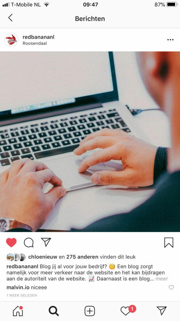 Aantal regels Instagram post