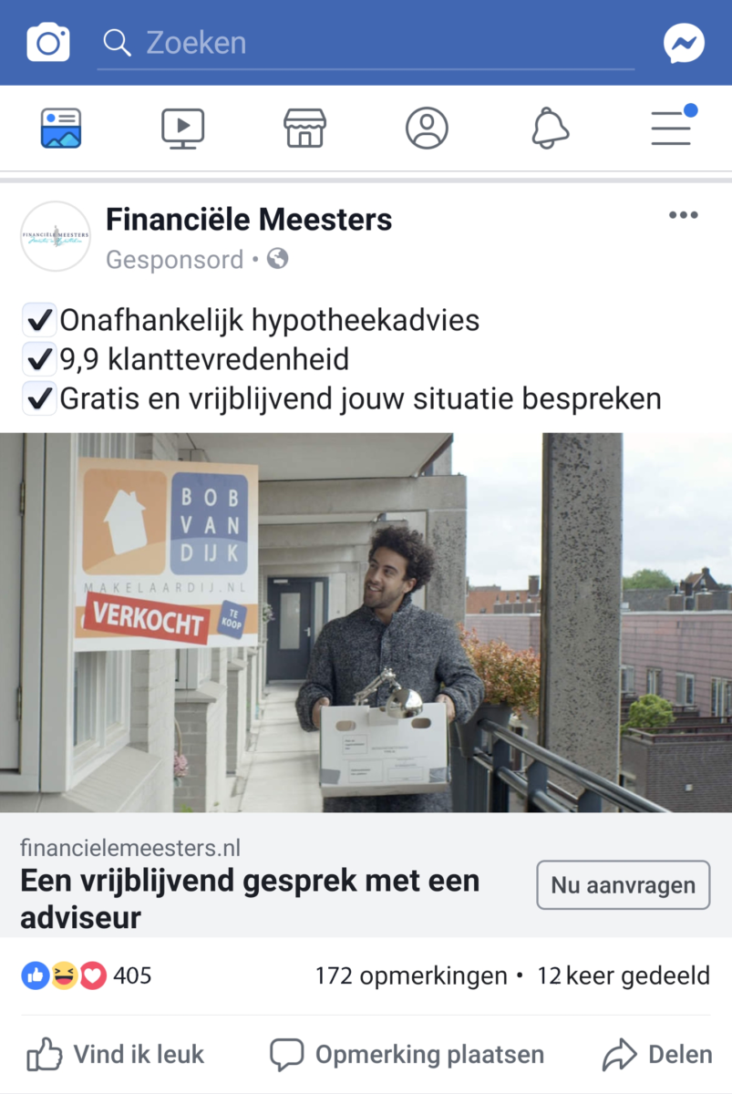 Facebook advertentie social media adverteren
