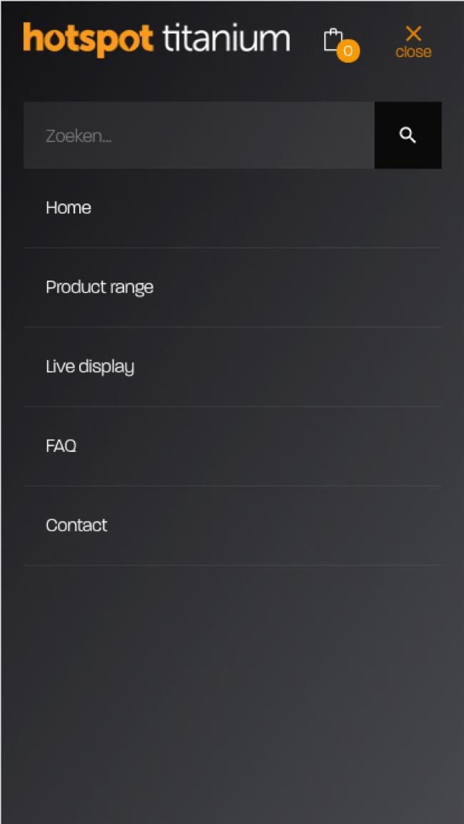 Het menu op de mobiele webshop
