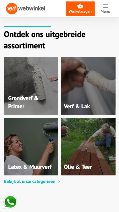 Sticky elementen op de mobiele website van Verfwebwinkel
