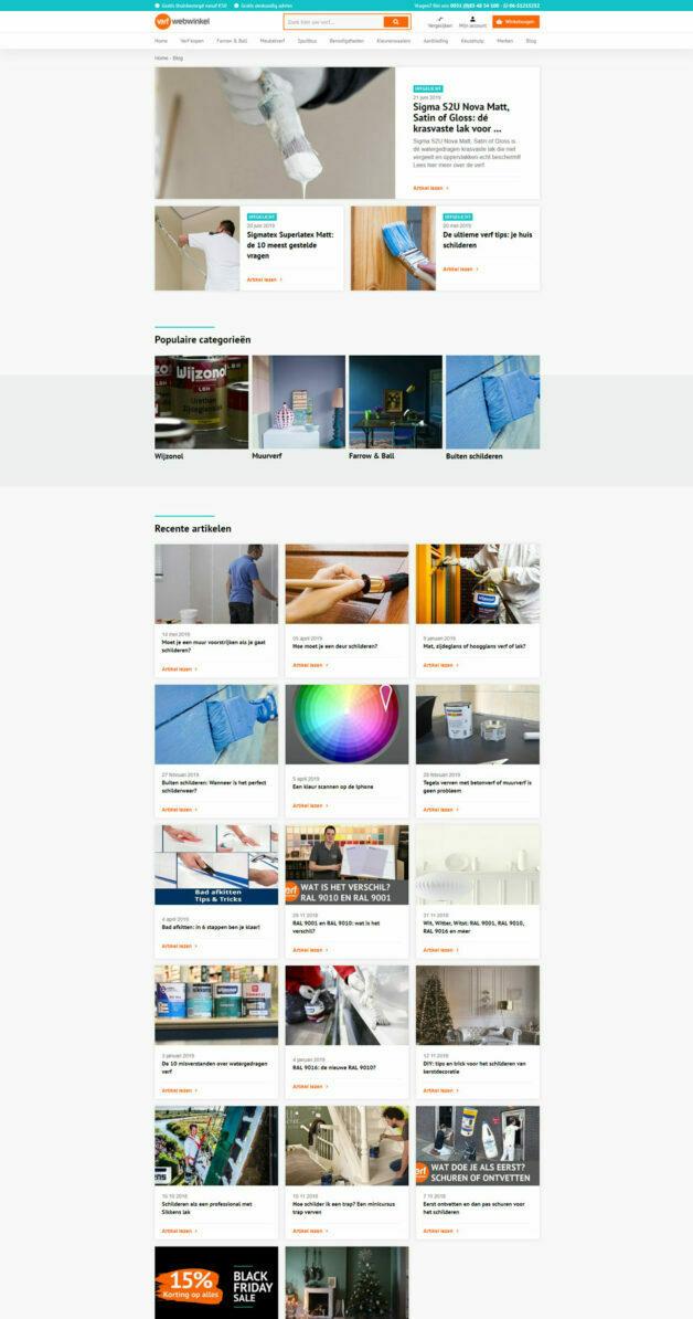 Blogpagina dekstop Verfwebwinkel