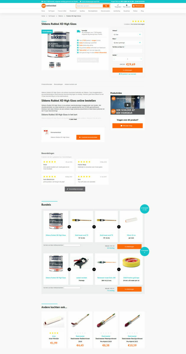 Productpagina Verfwebwinkel op desktop
