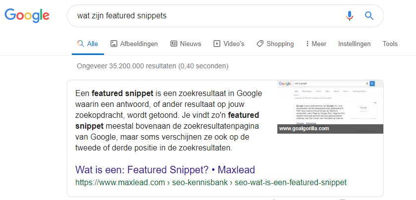 featured snippets tags aanpassen