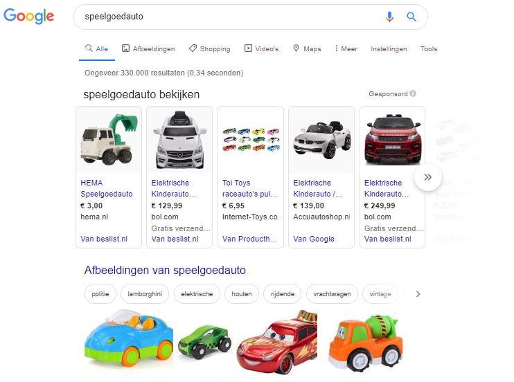 Voorbeeld speelgoedauto in de zoekresultaten