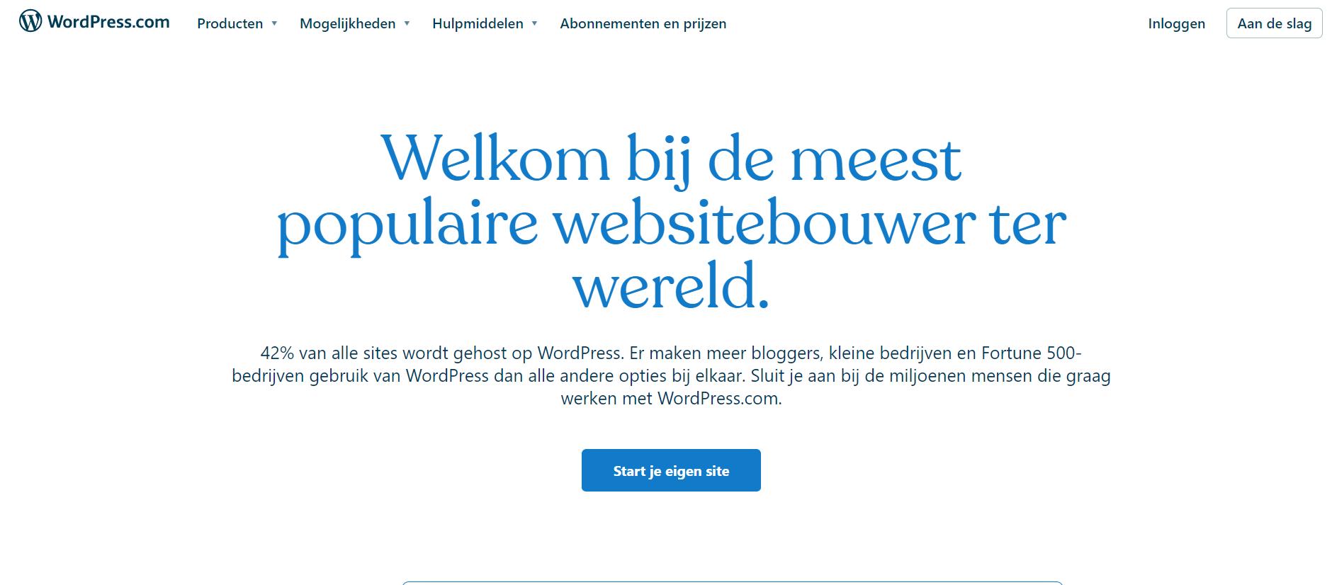 Homepage van WordPress platform