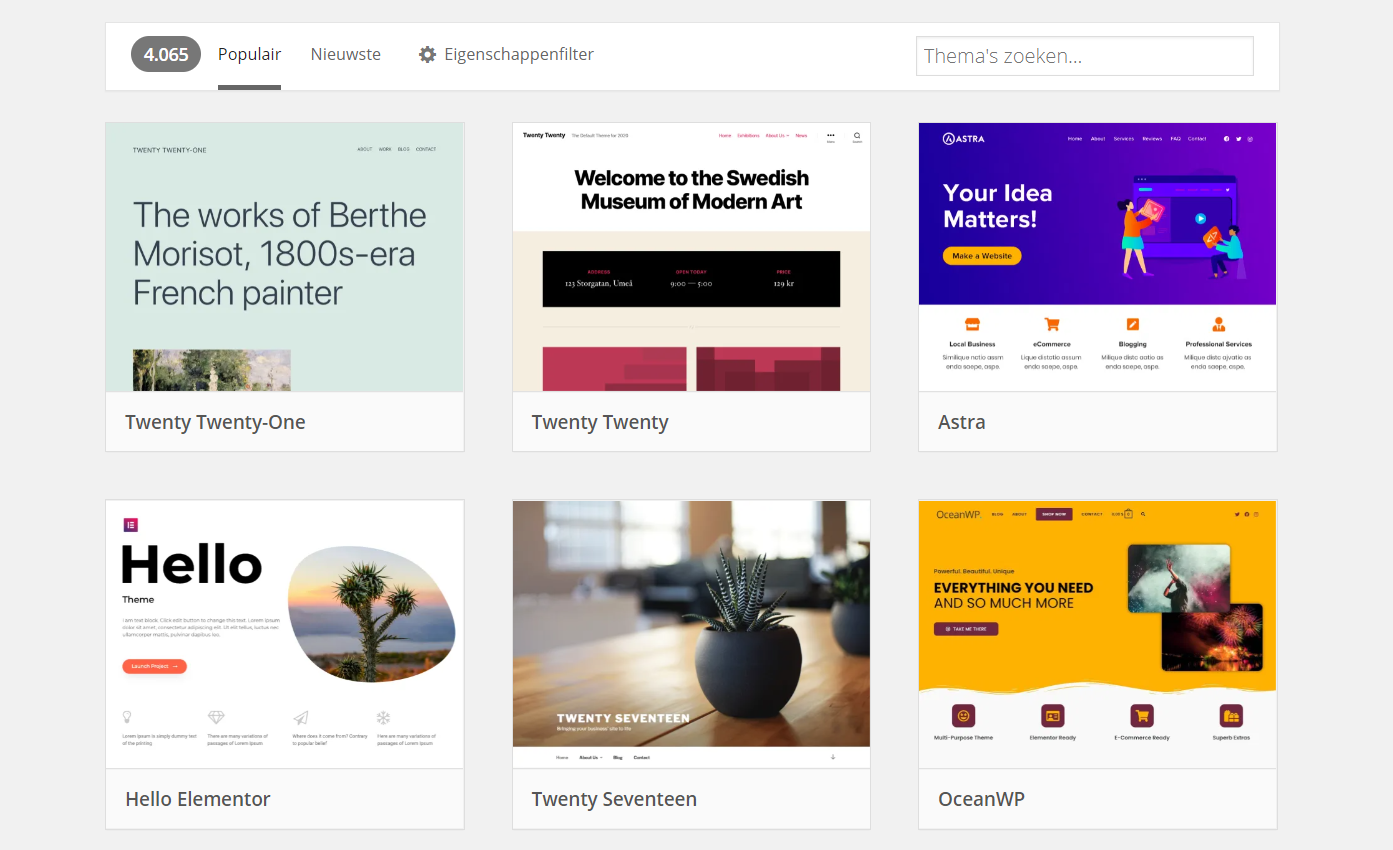 Thema van WordPress overzicht webpagina